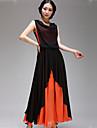 Women\'s Vintage Party Micro Elastic Sleeveless Maxi Dress (Chiffon)