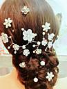Femei Fata cu Flori Aliaj Imitație de Perle Diadema-Nuntă Ocazie specială Informal Flori Ac de Păr Lănțișor de cap
