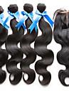 Hår Inslag med Stängning Brasilianskt hår Kroppsvågor hår väver
