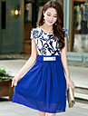 Women\'s Round Collar Chiffon Belt Short Sleeve Dress (More Colors)