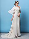 Lanting Bride® Corte en A / Princesa Tallas pequenas / Tallas Grandes Vestido de Boda Corte Sobre un Hombro Raso con