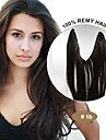 20inch 100% brasilianskt jungfru människohår flip i hårförlängningar # 1b naturliga svarta naturliga våg halo hårförlängningar 002