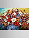 HANDMÅLAD Blommig/Botanisk / Abstrakta landskapEuropeisk Stil En panel Kanvas Hang målad oljemålning For Hem-dekoration