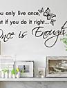 Du lever bara en gång heminredning väggdekaler zooyoo8144 dekorativa flyttbar vinyl vägg klistermärken