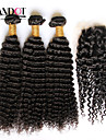 3 buntar mongoliska lockigt jungfru hår med stängning obearbetat människohår väva och gratis / mellersta delen spetstopp stängning