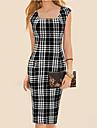 Women\'s Vintage Square Neck Dress , Cotton Blends Black Sexy/Bodycon/Casual/Work