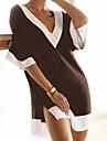 Women\'s Summer Beach V Collar Short Sleeve Slit Hem Mini Dress