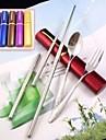 protable 3in1 rostfritt ätpinnar stål gaffel sked uppsättning