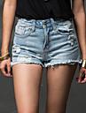 bodycon / ocazional mini pantaloni inelastica femei (denim)
