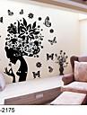 classiques noirs fleur fee stickers muraux pour les filles chambres zooyoo2175 parede amovible sticker mural PVC