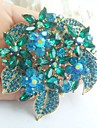 Women Accessories Gold-tone Turquoise Rhinestone Crystal Flower Brooch Bouquet Art Deco Women Jewelry