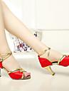 sun lisa latin salsa muokattavissa naisten sandaalit räätälöityjä kantapää satiini soljen tanssikengät (enemmän värejä)
