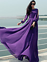 Women\'s Casual/Daily Sexy Plus Size / Swing Dress,Solid Round Neck Maxi Long Sleeve Purple Polyester / Others Fall