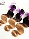 """3st 14-28 """"ombre peruanska kroppen våg jungfru hårförlängningar två ton 1b / 27 blond 6a remy människohår väv vågiga buntar"""