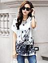 Mulheres Camiseta Casual Simples / Moda de Rua Verao,Estampado Cinza Decote Redondo Manga Curta Fina