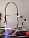 Contemporain Pull-out / Pull-down Montage LED with  Valve en ceramique Mitigeur un trou for  Chrome , Robinet de Cuisine
