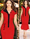 Robes ( Coton/Polyester ) Bodycon Col V a Manches courtes pour Femme