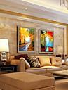 peinture a l\'huile decoration paysage peint a la main lin naturel avec la main tendue encadree - ensemble de 2