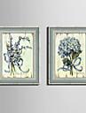 Blommig/Botanisk Inramad duk / Inramat set Wall Art,PVC Grå Ingen passepartout med Frame Wall Art