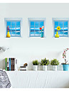 uppsättning av 3 3d väggdekorationer väggdekaler, fönster vas vägg klistermärke