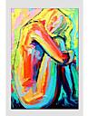 HANDMÅLAD Abstrakta porträttModerna / Europeisk Stil En panel Kanvas Hang målad oljemålning For Hem-dekoration