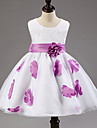 A-line Tea-length Flower Girl Dress - Cotton / Tulle / Polyester Sleeveless Jewel with