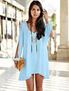 Summer Style 2015 New Dress V Neck Chiffon Dress  Loose Irregular Fashion Women Mini Casual Dress