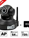 besteye® 8GB tf kort och h.264 wifi kamera ip hd 720p 1,0m pixlar PTZ ir mörkerseende trådbunden eller trådlös kamera wifi
