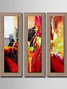 decor pictură în ulei manual abstract pictat lenjerie naturale cu întins încadrată - set de 3