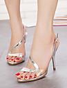 Women\'s Shoes Patent Leather Stiletto Heel Heels/Peep Toe/Platform/Open Toe Sandals Casual Silver/Gold