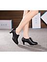 Chaussures de danse (Noir/Or) - Non personnalisable - Talon Large - Cuir - Danse latine