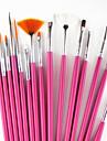 15st rosa handtag nagel konst design målning ritning penna pensel ställ &5st 2-vägs utspridda pennverktyget marbleizing