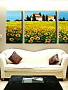 peinture a l\'huile decoration paysage abstrait main toile peinte avec etire encadree - ensemble de 3