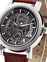 WINNER Bărbați Ceas de Mână ceas mecanic Mecanism automat Calendar PU Bandă Luxos Negru Maro Negru Maro