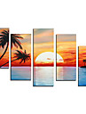 Hand-Painted Art Wall Decor Painting Sunset Contemporary Oil Painting on Canvas  5pcs/set Without Frame