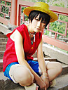 Inspire par One Piece Monkey D. Luffy Anime Costumes de cosplay Costumes Cosplay Mosaique Rouge / Bleu Sans Manches Veste / Shorts