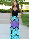 Women\'s Sexy Cute Maxi Plus Sizes Micro Elastic Sleeveless  Dress (Cotton)