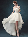 A-line Wedding Dress - Chic & Modern Asymmetrical Off-the-shoulder Organza with Beading / Lace