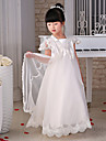 Flower Girl Dress Floor-length Lace/Organza Princess Short Sleeve Dress