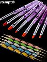 7pcs 2in1 akryl&uv gel borstar uppsättningen nylon hår vatten mönster handtag med 5st 2-vägs utspridda marbleizing pennverktyget