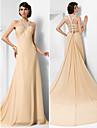 Formal Evening Dress - Champagne Plus Sizes / Petite A-line / Princess Straps Court Train Chiffon