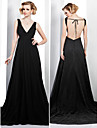 Formal Evening Dress - Black Plus Sizes A-line V-neck Court Train Chiffon