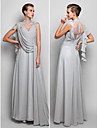 TS Couture® Formal Evening / Military Ball Dress - Silver Plus Sizes / Petite Sheath/Column Halter Floor-length Chiffon