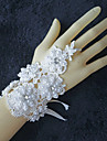 Lace Trim Wrist Length Wedding Gloves with Imitation Pearls with Rhinestones