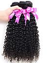 3st / lot mongoliska kinky lockigt hår afro kinky lockigt jungfru människohår väva naturligt svart