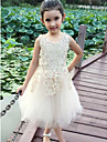A-line Knee-length Flower Girl Dress - Cotton / Lace Sleeveless Jewel with