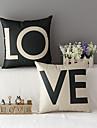 set om 2 moderna stil kärlek mönstrad bomull / linne dekorativa örngott