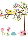70 * 50cm söta ugglan vinyl väggdekorationer klistermärken baby rum dekaler trädgren lycklig familj