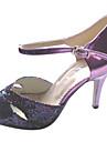 Chaussures de danse (Violet Talons personnalises - Cuir verni/Paillettes scintillantes - Danse latine