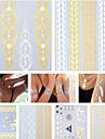 17 - Series bijoux - Dore/Noir/Argente - Motif - 23.5*11*1CM - Tatouages Autocollants Homme/Femme/Adulte/Adolescent